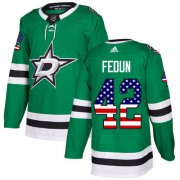 Cheap Adidas Stars #42 Taylor Fedun Green Home Authentic USA Flag Stitched NHL Jersey