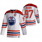 Wholesale Cheap Edmonton Oilers #97 Connor McDavid White Men's Adidas 2020-21 Reverse Retro Alternate NHL Jersey