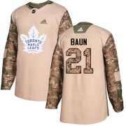Wholesale Cheap Adidas Maple Leafs #21 Bobby Baun Camo Authentic 2017 Veterans Day Stitched NHL Jersey