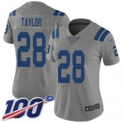 Wholesale Cheap Nike Colts #28 Jonathan Taylor Gray Women's Stitched NFL Limited Inverted Legend 100th Season Jersey