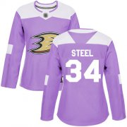 Wholesale Cheap Adidas Ducks #34 Sam Steel Purple Authentic Fights Cancer Women's Stitched NHL Jersey