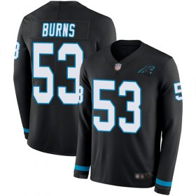 Wholesale Cheap Nike Panthers #53 Brian Burns Black Team Color Men\'s Stitched NFL Limited Therma Long Sleeve Jersey