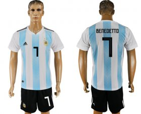 Wholesale Cheap Argentina #7 Benedetto Home Soccer Country Jersey