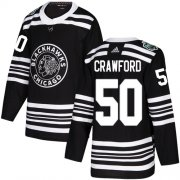 Wholesale Cheap Adidas Blackhawks #50 Corey Crawford Black Authentic 2019 Winter Classic Stitched Youth NHL Jersey