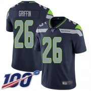 Wholesale Cheap Nike Seahawks #26 Shaquem Griffin Steel Blue Team Color Men's Stitched NFL 100th Season Vapor Limited Jersey