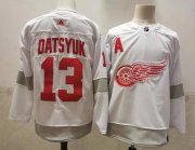 Wholesale Cheap Men's Detroit Red Wings #13 Pavel Datsyuk White Adidas 2020-21 Alternate Authentic Player NHL Jersey