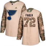Wholesale Cheap Adidas Blues #72 Justin Faulk Camo Authentic 2017 Veterans Day Stitched NHL Jersey