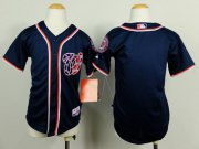 Wholesale Cheap Nationals Blank Blue Cool Base Stitched Youth MLB Jersey