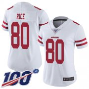 Wholesale Cheap Nike 49ers #80 Jerry Rice White Women's Stitched NFL 100th Season Vapor Limited Jersey