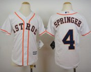 Wholesale Cheap Astros #4 George Springer White Cool Base Stitched Youth MLB Jersey