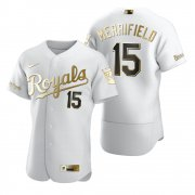 Wholesale Cheap Kansas City Royals #15 Whit Merrifield White Nike Men's Authentic Golden Edition MLB Jersey