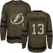 Cheap Adidas Lightning #13 Cedric Paquette Green Salute to Service Stitched NHL Jersey