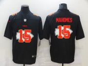 Wholesale Cheap Men's Kansas City Chiefs #15 Patrick Mahomes Black 2020 Shadow Logo Vapor Untouchable Stitched NFL Nike Limited Jersey