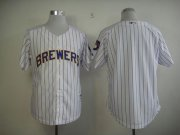Wholesale Cheap Brewers Blank White (blue strip) Stitched MLB Jersey