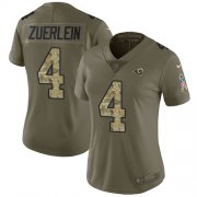 Wholesale Cheap Nike Rams #4 Greg Zuerlein Olive/Camo Women's Stitched NFL Limited 2017 Salute to Service Jersey