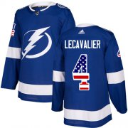 Wholesale Cheap Adidas Lightning #4 Vincent Lecavalier Blue Home Authentic USA Flag Stitched NHL Jersey