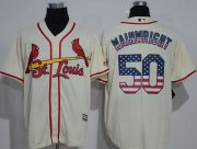 Wholesale Cardinals #50 Adam Wainwright Cream USA Flag Fashion Stitched Baseball Jersey