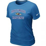 Wholesale Cheap Women's Nike Baltimore Ravens Heart & Soul NFL T-Shirt Light Blue