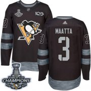 Wholesale Cheap Adidas Penguins #3 Olli Maatta Black 1917-2017 100th Anniversary Stanley Cup Finals Champions Stitched NHL Jersey