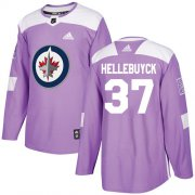 Wholesale Cheap Adidas Jets #37 Connor Hellebuyck Purple Authentic Fights Cancer Stitched Youth NHL Jersey