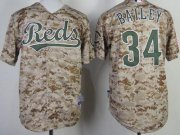 Wholesale Cheap Reds #34 Homer Bailey Camo Cool Base Stitched Youth MLB Jersey
