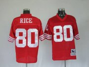 Wholesale Cheap Mitchell and Ness 49ers Jerry Rice #80 Stitched Red NFL Jersey