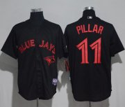 Wholesale Cheap Blue Jays #11 Kevin Pillar Black Strip Stitched MLB Jersey