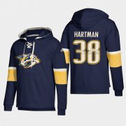 Wholesale Cheap Nashville Predators #38 Ryan Hartman Navy adidas Lace-Up Pullover Hoodie