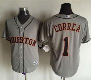 Wholesale Cheap Astros #1 Carlos Correa Grey New Cool Base Stitched MLB Jersey