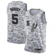 Wholesale Cheap Men's Nike San Antonio Spurs #5 Dejounte Murray White Camo Basketball Swingman Earned Edition Jersey