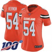 Wholesale Cheap Nike Browns #54 Olivier Vernon Orange Alternate Women's Stitched NFL 100th Season Vapor Limited Jersey