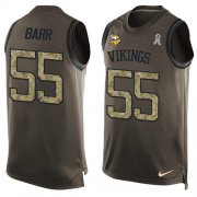 Wholesale Cheap Nike Vikings #55 Anthony Barr Green Men's Stitched NFL Limited Salute To Service Tank Top Jersey