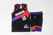 Wholesale Cheap Phoenix Suns 13 Steve Nash Black Hardwood Classics Jersey(With Shorts)