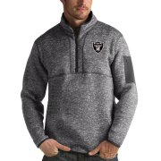 Wholesale Cheap Las Vegas Raiders Antigua Fortune Quarter-Zip Pullover Jacket Charcoal