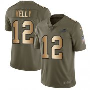 Wholesale Cheap Nike Bills #12 Jim Kelly Olive/Gold Youth Stitched NFL Limited 2017 Salute to Service Jersey