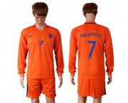 Wholesale Cheap Holland #7 Memphis Home Long Sleeves Soccer Country Jersey