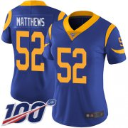 Wholesale Cheap Nike Rams #52 Clay Matthews Royal Blue Alternate Women's Stitched NFL 100th Season Vapor Limited Jersey