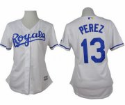 Wholesale Cheap Royals #13 Salvador Perez White Home Women's Stitched MLB Jersey