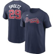 Wholesale Cheap Atlanta Braves #29 John Smoltz Nike Cooperstown Collection Name & Number T-Shirt Navy
