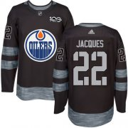 Wholesale Cheap Adidas Oilers #22 Jean-Francois Jacques Black 1917-2017 100th Anniversary Stitched NHL Jersey