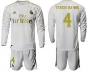 Wholesale Cheap Real Madrid #4 Sergio Ramos White Home Long Sleeves Soccer Club Jersey