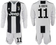 Wholesale Cheap Juventus #11 D.Costa Home Long Sleeves Soccer Club Jersey
