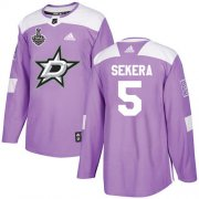 Cheap Adidas Stars #5 Andrej Sekera Purple Authentic Fights Cancer Youth 2020 Stanley Cup Final Stitched NHL Jersey