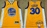 Wholesale Cheap Men's Golden State Warriors #30 Stephen Curry Yellow 2017 The NBA Finals Patch Jersey