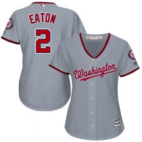 Wholesale Cheap Nationals #2 Adam Eaton Grey Road Women\'s Stitched MLB Jersey