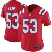 Wholesale Cheap Nike Patriots #53 Josh Uche Red Alternate Women's Stitched NFL Vapor Untouchable Limited Jersey