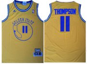 Wholesale Cheap Men's Golden State Warriors #11 Klay Thompson Yellow Hardwood Classics Soul Swingman Throwback Jersey