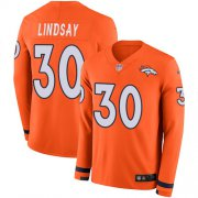 Wholesale Cheap Nike Broncos #30 Phillip Lindsay Orange Team Color Youth Stitched NFL Limited Therma Long Sleeve Jersey