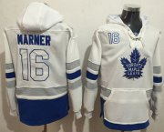 Wholesale Cheap Maple Leafs #16 Mitchell Marner White Name & Number Pullover NHL Hoodie