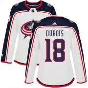 Wholesale Cheap Adidas Blue Jackets #18 Pierre-Luc Dubois White Road Authentic Women's Stitched NHL Jersey